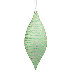 7 Inch Celadon Green Matte Glitter Drop Ornament 2 per Set
