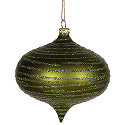 4 Inch Dark Olive Onion Glitter Matte Ornament Set of 2