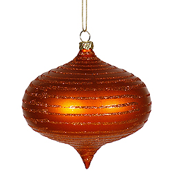 4 inch Burnish Orange Onion Glitter Matte Ornament