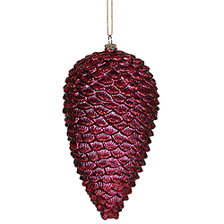 7 Inch Burgundy Glitter Matte Pinecone Ornament - Set Of 6