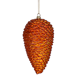 7 Inch Burnish Orange Matte Glitter Pinecone Christmas Ornament