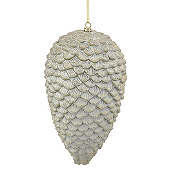 10 Inch Champagne Matte Glitter Pinecone Ornaments - Box Of 2