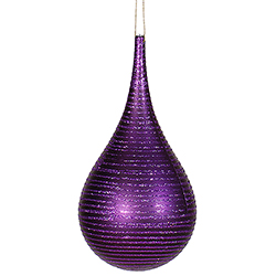 4 Inch Purple Matte Glitter Tear Drop Ornament