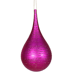 4 Inch Cerise Matte Glitter Tear Drop Ornament