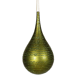 4 Inch Dark Olive Matte Glitter Tear Drop Ornament