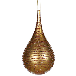 4 Inch Antique Gold Matte Glitter Tear Drop Ornament