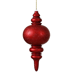 13 Inch Red Matte Finish with Glitter Finial Christmas Ornament Shatterproof
