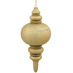 13 Inch Gold Matte Finish with Glitter Finial Christmas Ornament Shatterproof