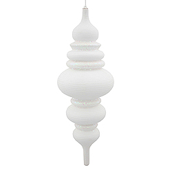 23 Inch White Matte Finish with Glitter Finial Christmas Ornament Shatterproof