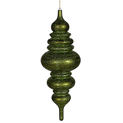 23 Inch Dark Olive Matte Finish with Glitter Finial Christmas Ornament Shatterproof