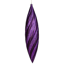 25 Inch Purple Matte with Glitter Swirl Drop Christmas Ornament