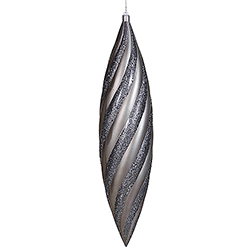 25 Inch Pewter Matte with Glitter Swirl Drop Christmas Ornament