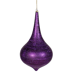 12 Inch Purple Matte with Glitter Onion Drop Christmas Ornament