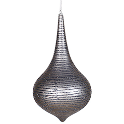12 Inch Pewter Matte with Glitter Onion Drop Christmas Ornament