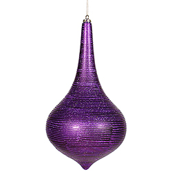 16 Inch Purple Matte with Glitter Onion Drop Christmas Ornament