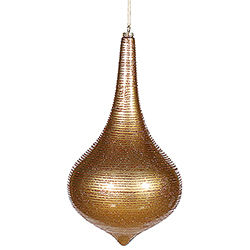 16 Inch Antique Gold Matte with Glitter Onion Drop Christmas Ornament