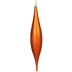 13 Inch Burnish Orange Glitter Swirl Matte Skinny Drop Ornament