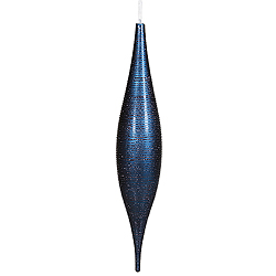 22 Inch Sea Blue Matte Glitter Skinny Drop Ornament
