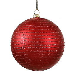 8 Inch Red MatteGlitter Round Ornament