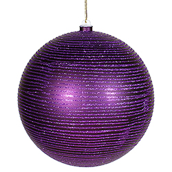8 Inch Purple MatteGlitter Round Ornament