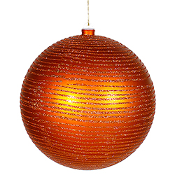 8 Inch Burnish Orange Matte Glitter Round Ornament