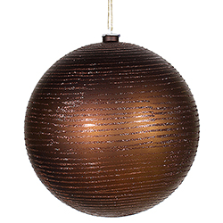 8 Inch Chocolate Matte Glitter Round Ornament