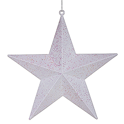 24 Inch White Glitter Star Decoration