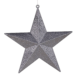 24 Inch Pewter Glitter Star Decoration