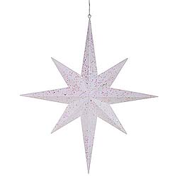 24 Inch White Glitter 8 Point Star Decoration