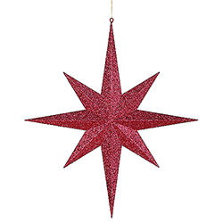 24 Inch Red Glitter 8 Point Star Decoration
