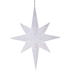 31.5 Inch White Glitter 8 Point Star Decoration