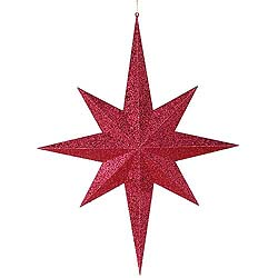 31.5 Inch Burgundy Glitter 8 Point Star Decoration
