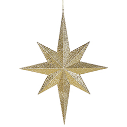31.5 Inch Gold Glitter 8 Point Star Decoration