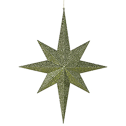 31.5 Inch Dark Olive Glitter 8 Point Star Decoration
