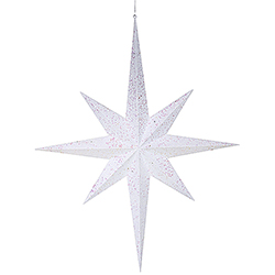 39 Inch White Glitter 8 Point Star Decoration