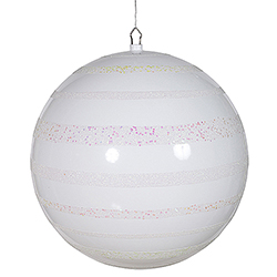 16 Inch White Glitter Swirl Shiny Ball Decoration