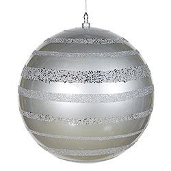 16 Inch Silver Glitter Swirl Shiny Ball Decoration