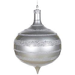 16 Inch Silver Glaze Glitter Sequin Onion Ornament