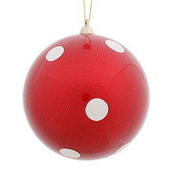 5.5 Inch Red Candy Polka Dot Round Christmas Ball Ornament