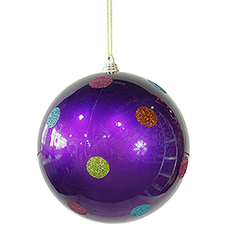 5.5 Inch Purple Candy Polka Dot Round Christmas Ball Ornament