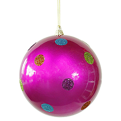 5.5 Inch Pink Candy Polka Dot Round Christmas Ball Ornament