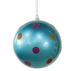 5.5 Inch Turquoise Candy Polka Dot Round Christmas Ball Ornament