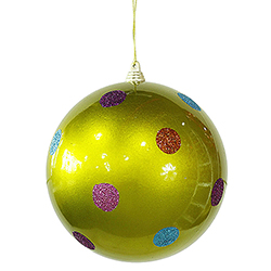 5.5 Inch Lime Candy Polka Dot Round Christmas Ball Ornament