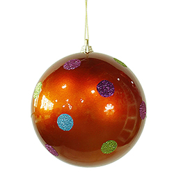 5.5 Inch Orange Candy Polka Dot Round Christmas Ball Ornament