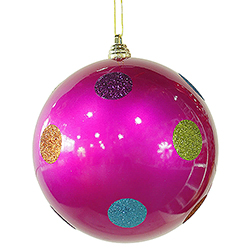 8 Inch Pink Candy Polka Dot Ornament 4 per Set