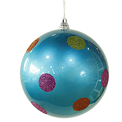 8 Inch Turquoise Candy Polka Dot Ornament 4 per Set