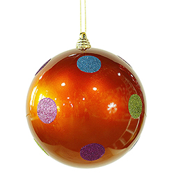 8 Inch Orange Candy Polka Dot Ornament 4 per Set