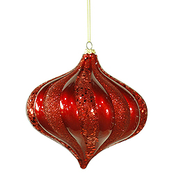 6 Inch Red Swirl Candy Glitter Onion Ornament