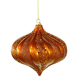6 Inch Burnish Orange Swirl Candy Glitter Onion Ornament