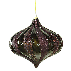 6 Inch Chocolate Swirl Candy Glitter Onion Ornament